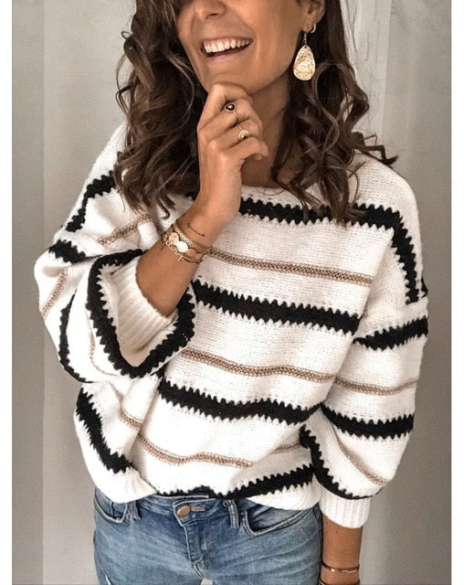 Long Sleeve Loose Fashion Patchwork O-neck Sweater - On-Point Clothing!