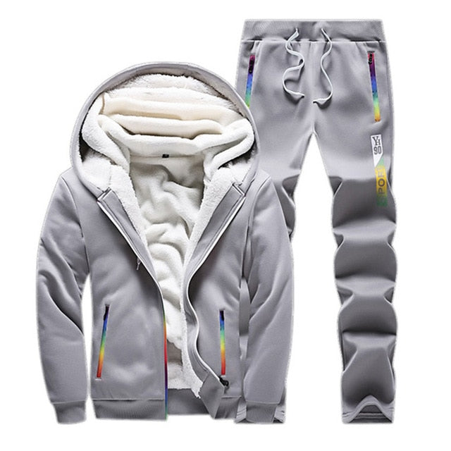 Male Thick Fleece Sweatshirt and Sportswear Suit - On-Point Clothing!
