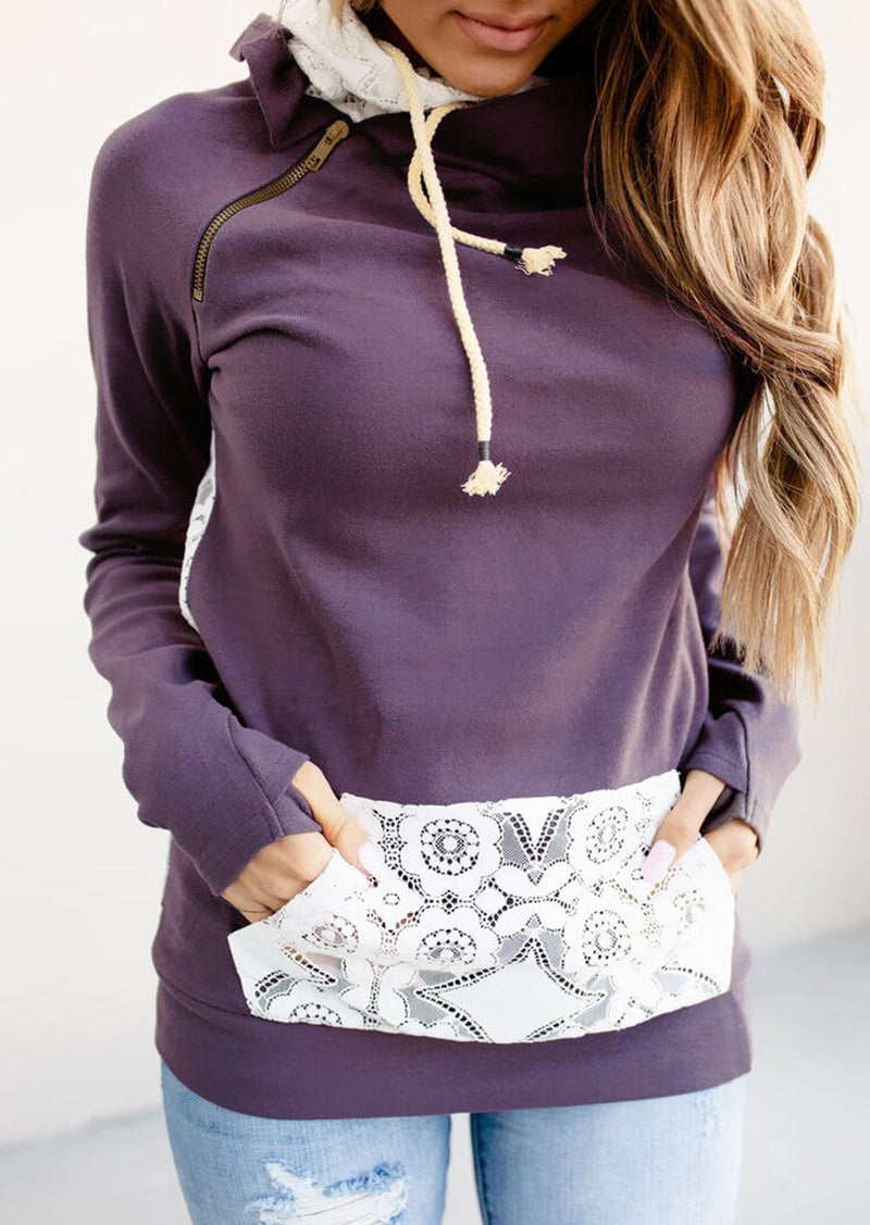 Women's  Casual Lace Splicing Zipper Hoodie - On-Point Clothing!