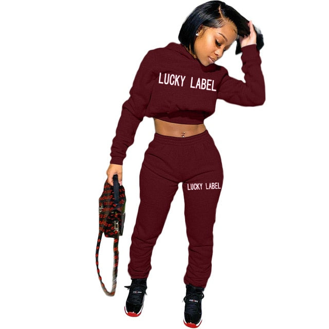 Women Lucky Label 2 Piece Set Women Hooded Top Outfits - On-Point Clothing!