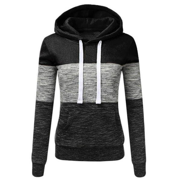 Women Long Sleeve Patchwork Pullover Hooded - On-Point Clothing!