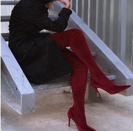 Slim Boots Over The Knee High Women Shoes - On-Point Clothing!