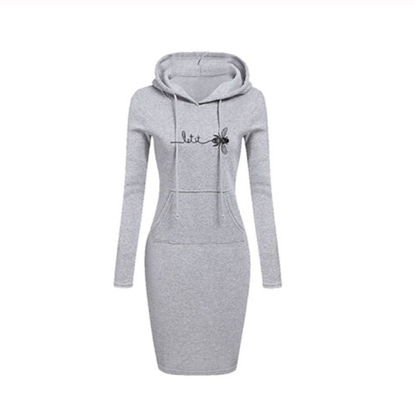 Hooded Drawstring Sleeves Women Dresses - On-Point Clothing!