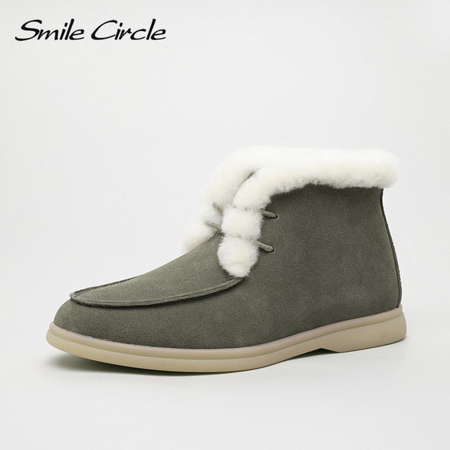 Genuine Leather Ankle Wool Women Shoes - On-Point Clothing!