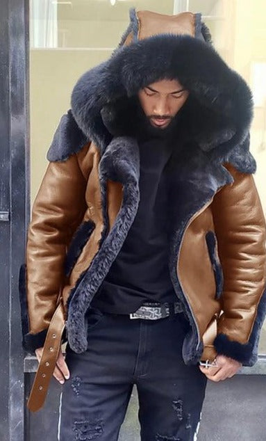 Echoine Faux leather down fur Outer Wear Mens Leather Jacket - On-Point Clothing!