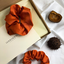 Load image into Gallery viewer, Large Spice Orange Bamboo Silk Scrunchie