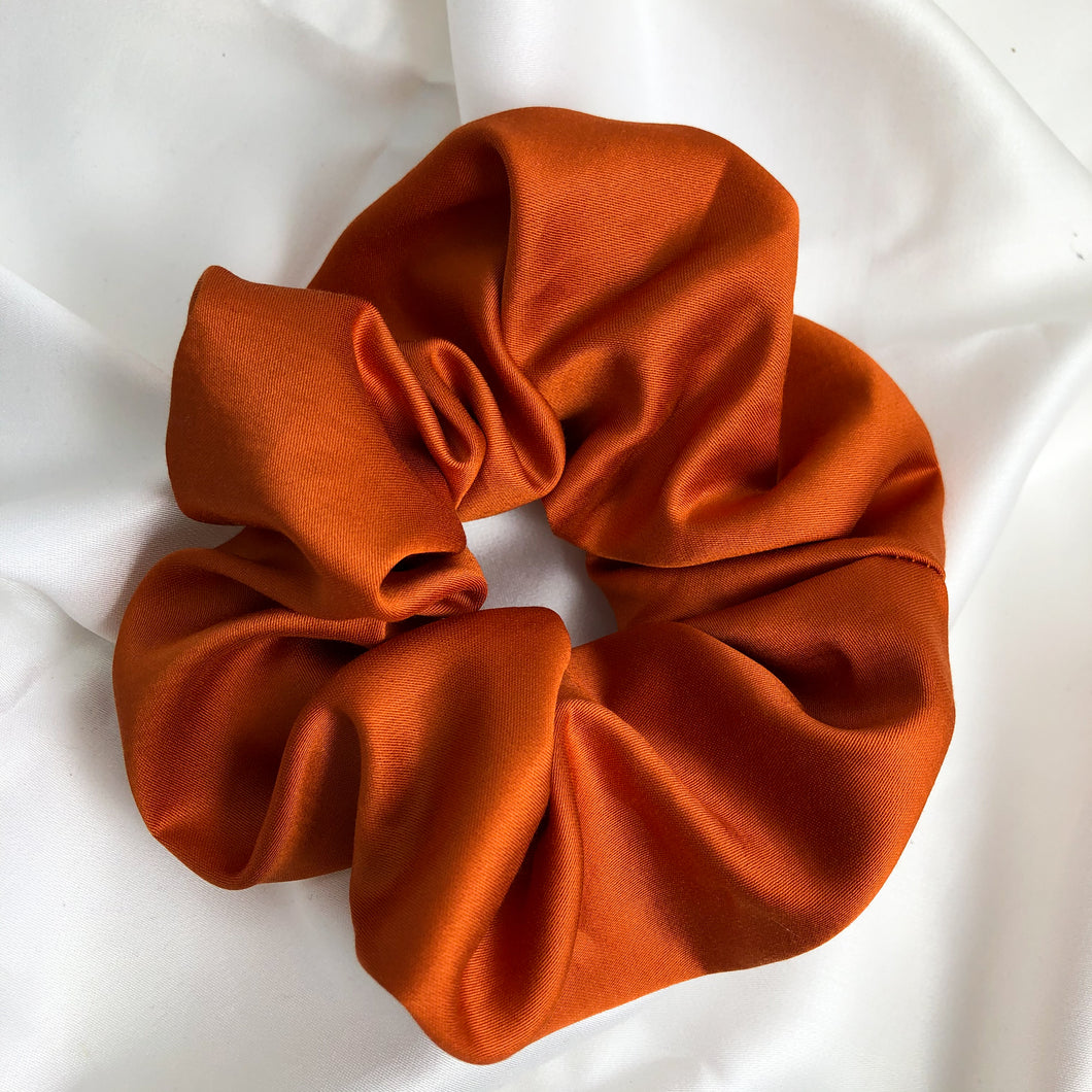 Large Spice Orange Bamboo Silk Scrunchie