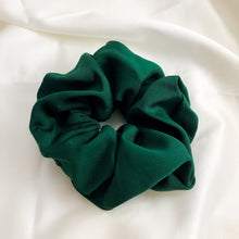 Load image into Gallery viewer, Large Forest Green Bamboo Silk Scrunchie