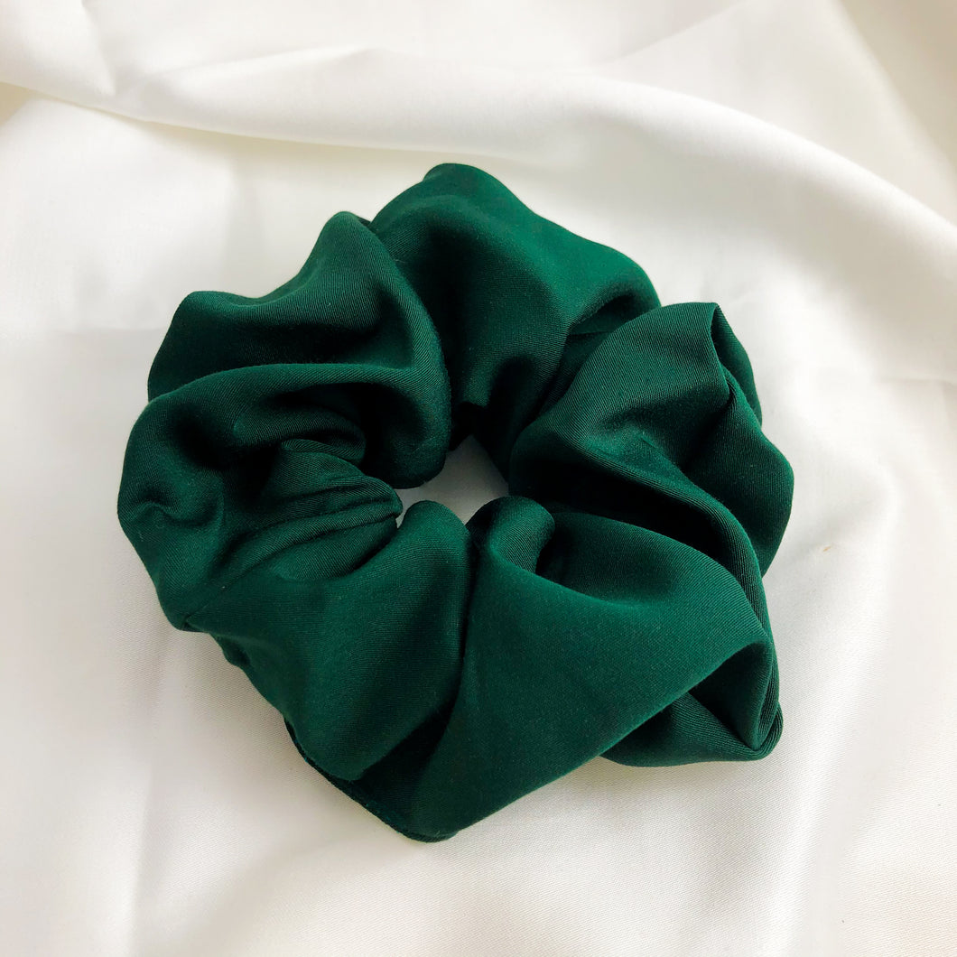 Large Forest Green Bamboo Silk Scrunchie