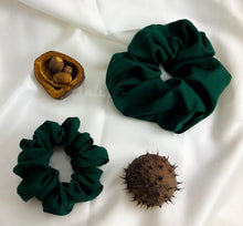 Load image into Gallery viewer, Forest Green Bamboo Silk Scrunchie