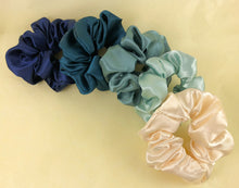Load image into Gallery viewer, Ocean Blues Satin Scrunchies Gift Set