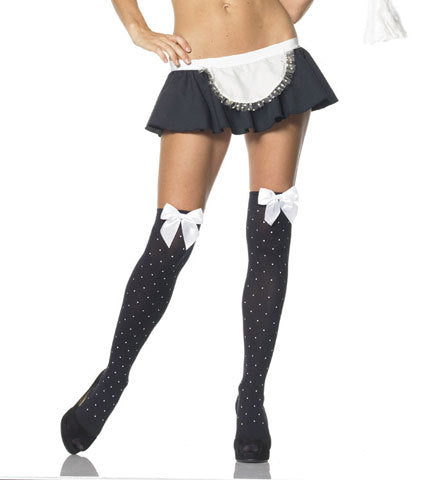 Thigh Highs Black with White Dots and Bows