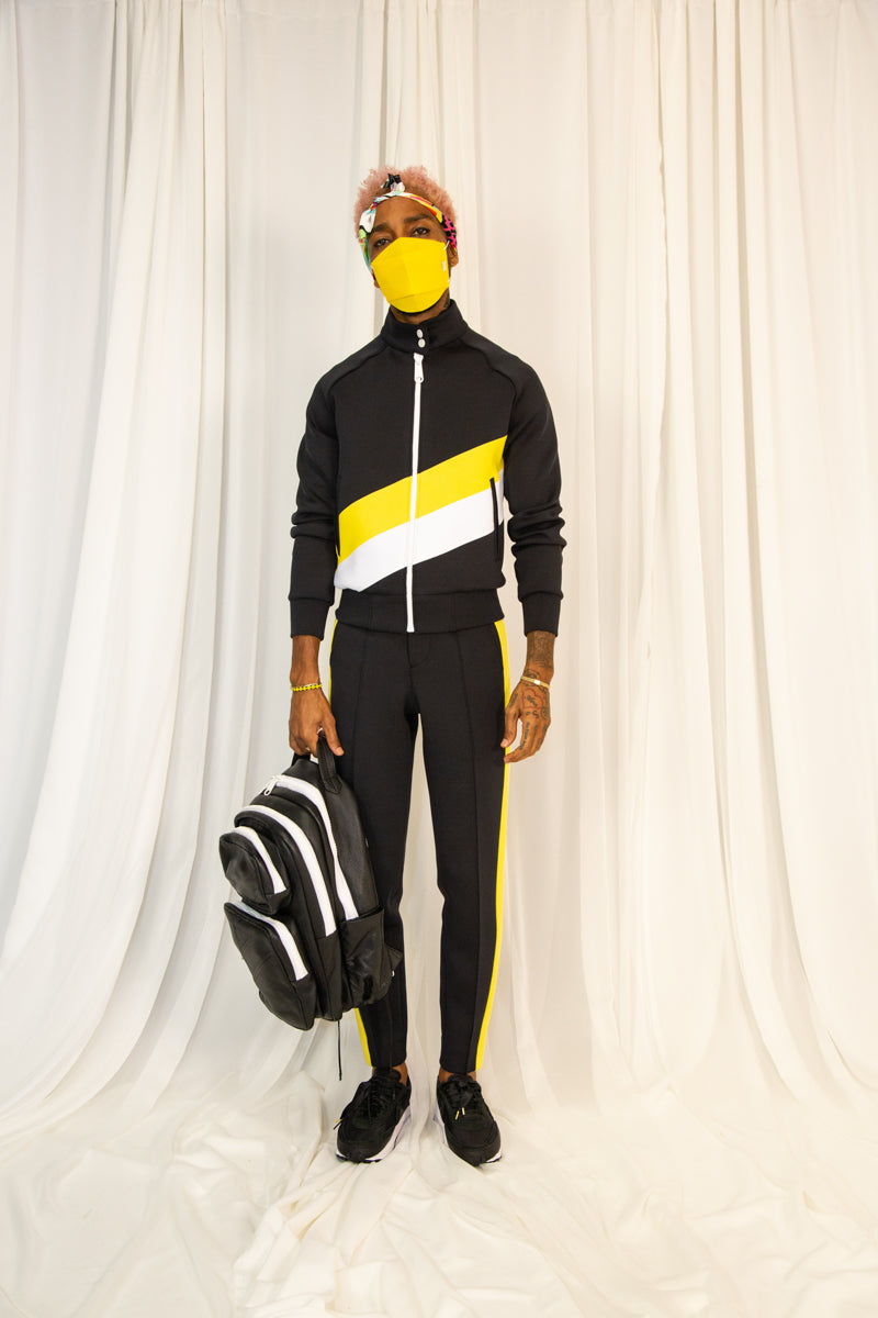Diagonal Striped Tracksuit with button collar