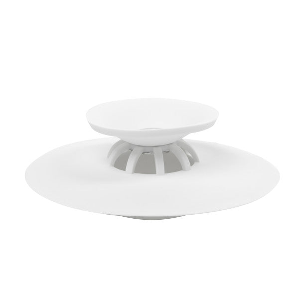 Flex drain stop/hair cather white