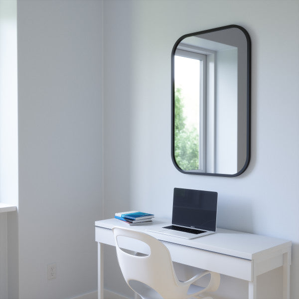HUB MIRROR RECTANGLE 24X36 black