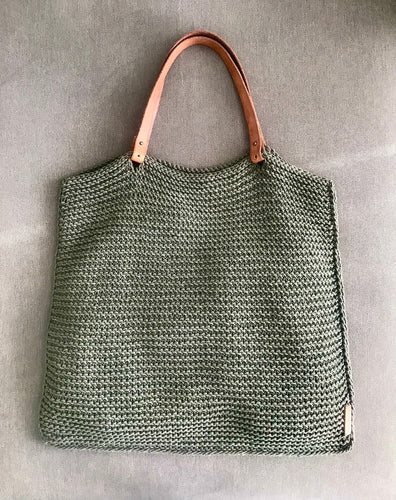 Designer cotton handbag with leather handles