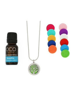 Essential Oil Tree of Life Diffuser Pendant with Chain and breathe Essential Oil