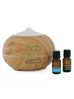 Ultrasonic Diffuser, Humidifier & Purifier 400ml with 2 Oil Blends