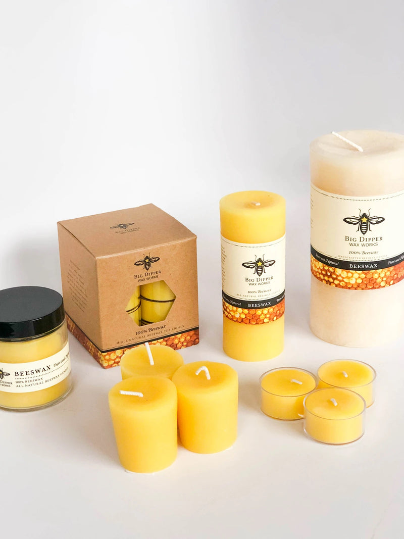 Beeswax Pillar Candles by Big Dipper Wax Works