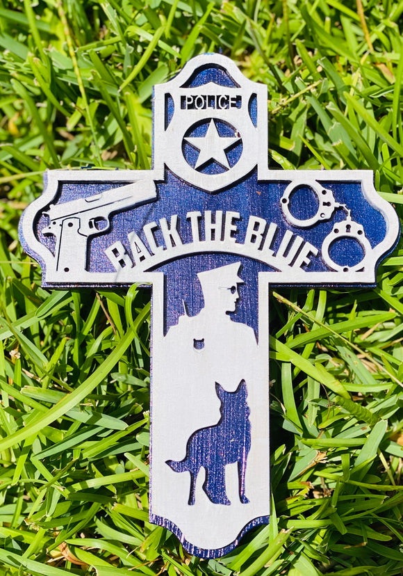 Back the Blue 3D Wooden Cross