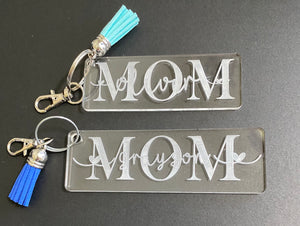 Knockout MOM keychains with tassel