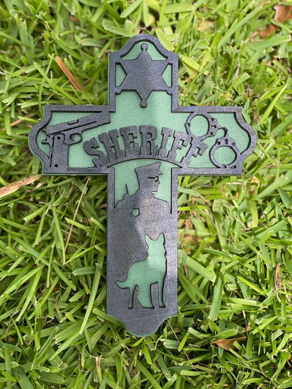 Sheriff 3D Wooden Cross