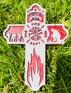 Firefighter 3D Wooden Cross