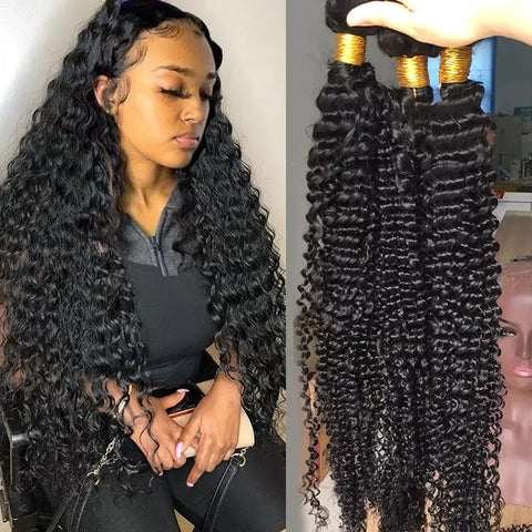 Brazilian Deep Wave Hair Bundles Deep Curly Hair 20,22,24,26