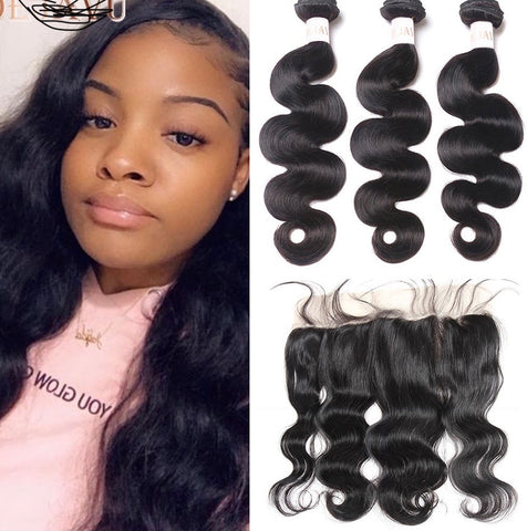 Brazilian Hair Bundles With Frontal Human Hair
