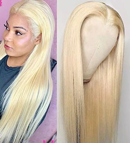 Glueless 613 Honey Blonde Brazilian Straight Lace Front Human Hair Wig