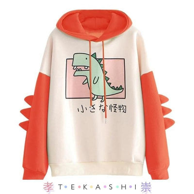 Rawiri Japanese Dinosaur Kaiju Unisex Hoodie with Spiked Sleeves