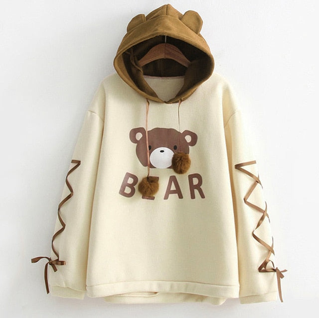 Kumaka Cute Bear Plush Ladies Hoodie