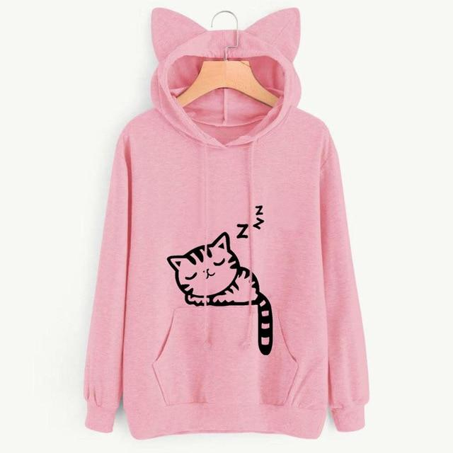 Snoozing Kitten Ladies Hoodie with Cat Ears