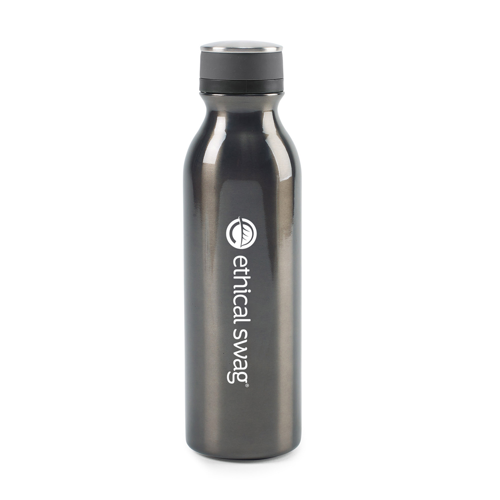 Favorite Double Wall Stainless Bottle 20 Oz. 😀😀 in White Background. Bottle is gray with Ethical Swag Logo imprint in white.