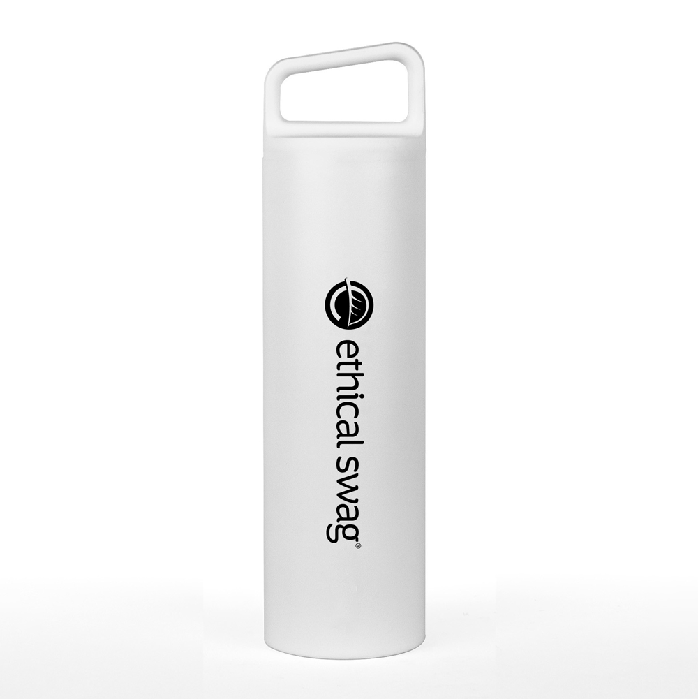 MiiR® Vacuum Insulated Wide Mouth Bottle 20 Oz. B-Corp Certified 😀😀😀 White, with Ethical Swag logo imprint in Black.