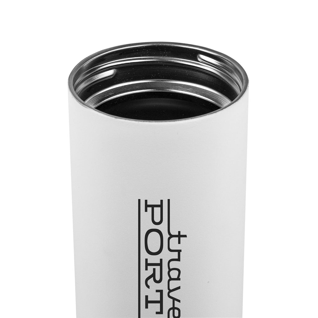 Close up of the MiiR® Vacuum Insulated Wide Mouth Bottle 20 Oz. B-Corp Certified 😀😀😀 Open lid, White, with logo imprint in Black.