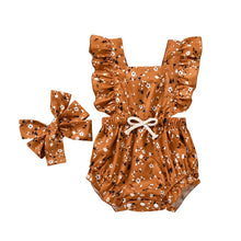 Load image into Gallery viewer, Floral Ruffled Romper & Bow