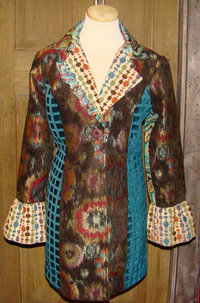 Teal and Rust Long Jacket