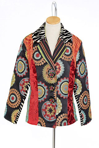 Suzani High Low Patch Jacket