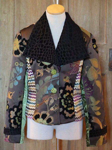 Purple, Green, and Black Floral Short Jacket