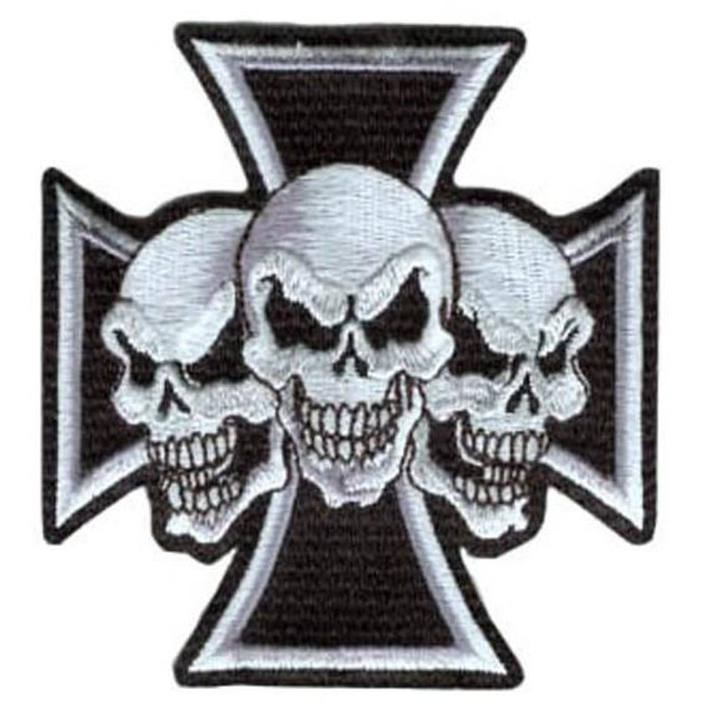 3 skulls Iron Cross hihamerkki - Hoopee.fi