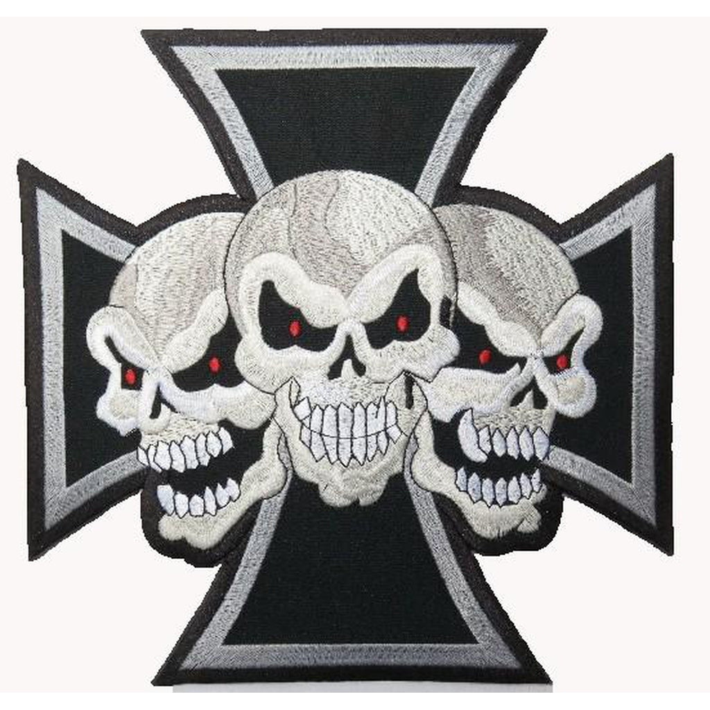 3 skulls on iron cross selkämerkki - Hoopee.fi