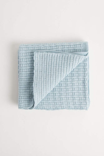 Bamboo Stitch Blanket (100cm x 100cm - Duck Egg Blue) Blanket Oz Knit