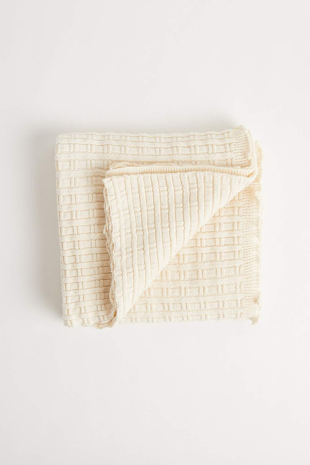 Bamboo Stitch Blanket (100cm x 100cm - Natural) Blanket Oz Knit