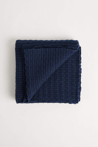 Bamboo Stitch Blanket (100cm x 100cm - Navy) Blanket Oz Knit