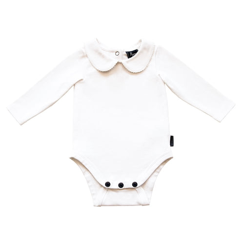 Bowhill Luxe Organic Cotton Onesie (Long Sleeve - White - 000) Onesie Pappe