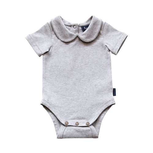 Bowhill Luxe Organic Cotton Onesie (Short Sleeve - Grey Marle - 000) Onesie Pappe