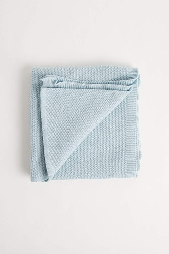 Moss Stitch Blanket (100cm x 100cm - Duck Egg Blue) Blanket Oz Knit