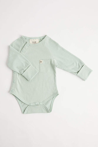 Organic Long Sleeve Bodysuit (Aqua Foam) Bodysuit Our Joey