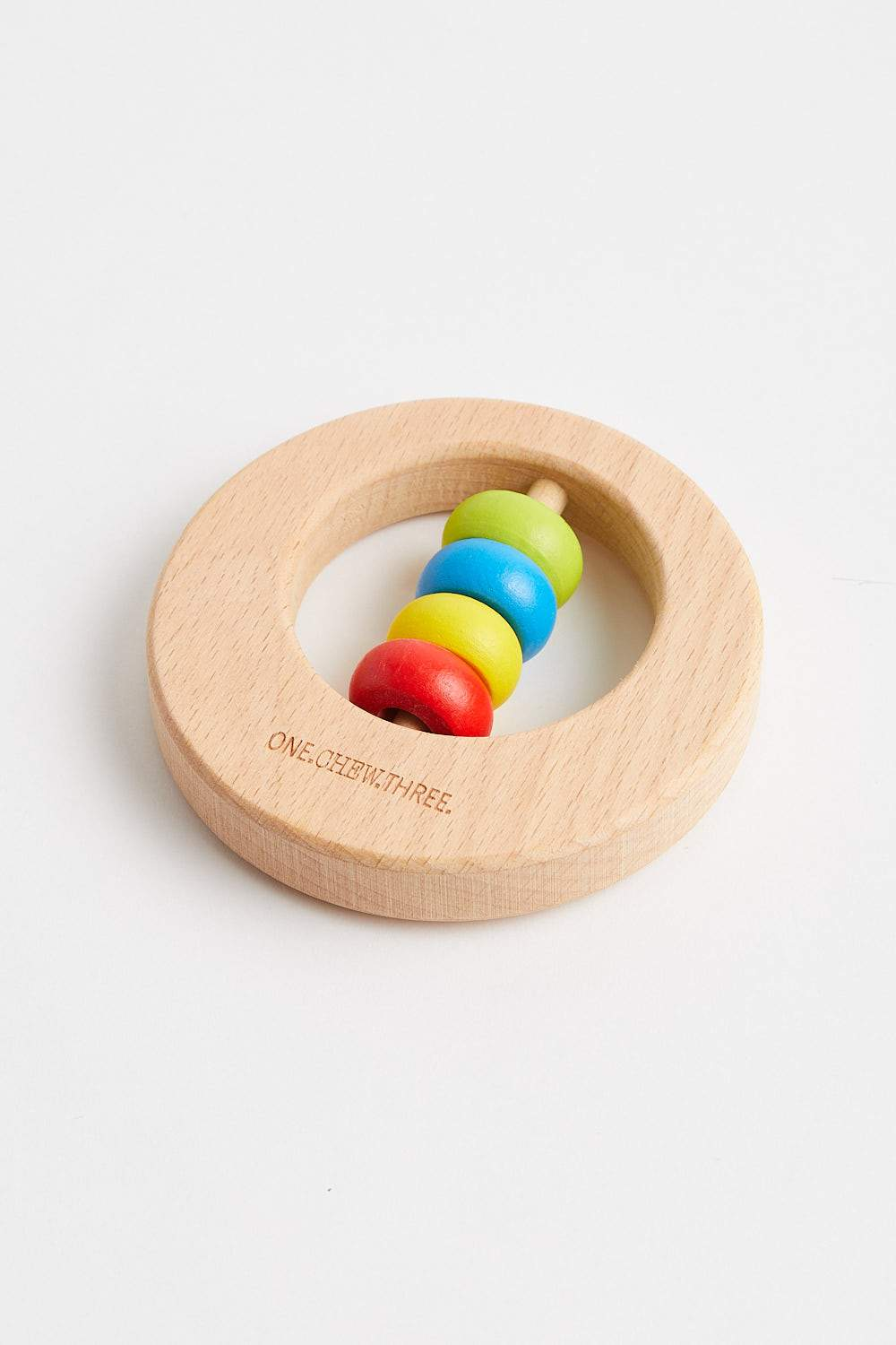 Premium Beech Wood Rattle Teether DISC (Rainbow Bright) Teether One Chew Three